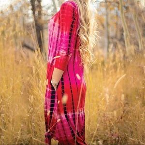Simply Southern Knotted Midi Dress Red Tie Dye